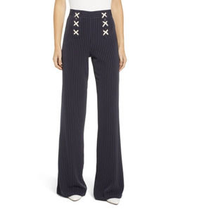 Anthropologie Bishop & Young Power Stripe Lace Up Sailor Pants Navy S Small